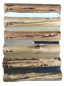 wzornik kolorów woodchink na drewnie